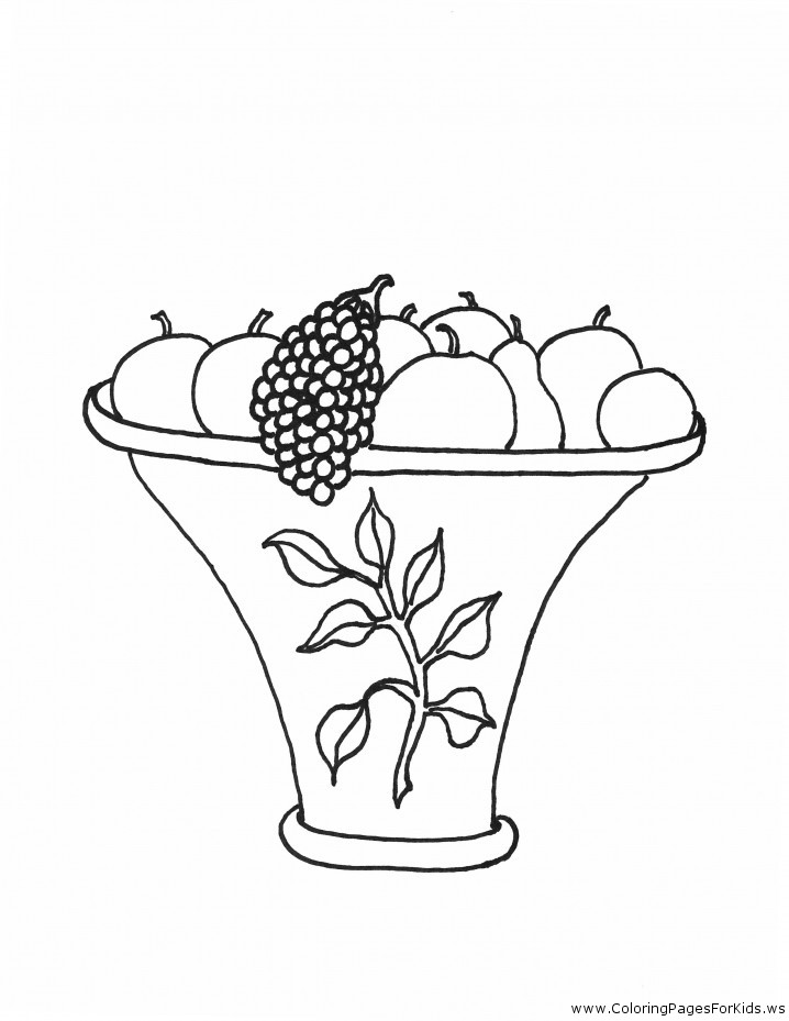Coloring Pages for Kids: Fruit Basket Coloring Pages