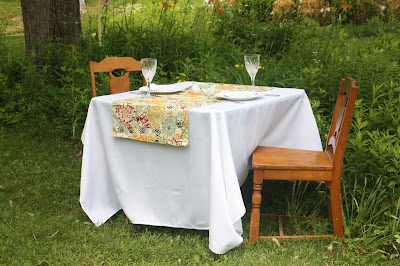 extra wide short table runner with marsala and mustard floral print
