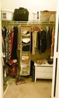 messy closet before organizing