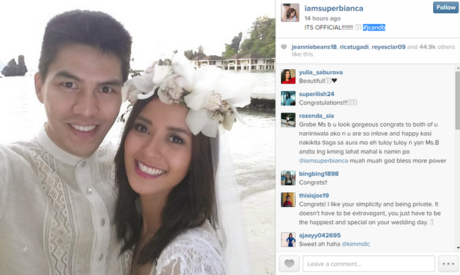 Bianca Gonzales and JC Intal in El Nido Palawan Wedding Photos