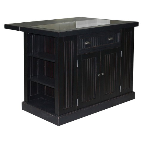 black home styles furniture kitchen island glass top