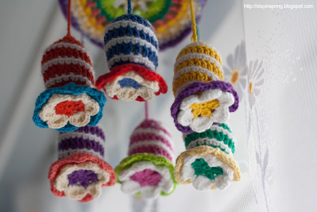 Crotcheted flower-shaped  rattles, baby mobile