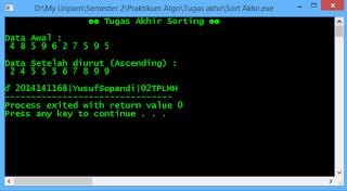 sorting c++, ascending