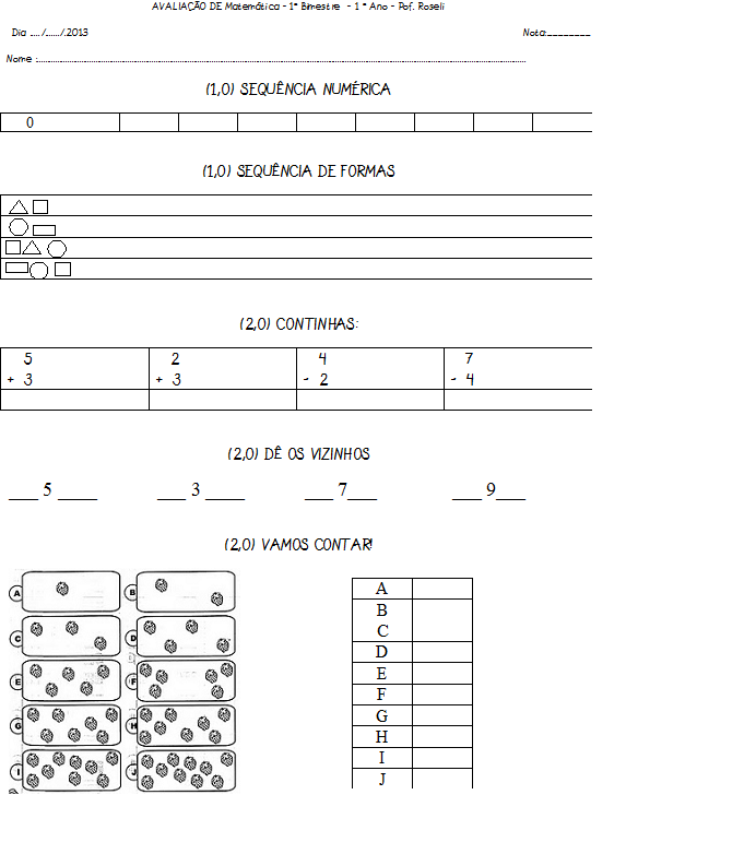 Avaliacao De Matematica 1   Bimestre Primeiro Ano