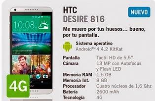 HTC Desire 816 con YOIGO: precio y características