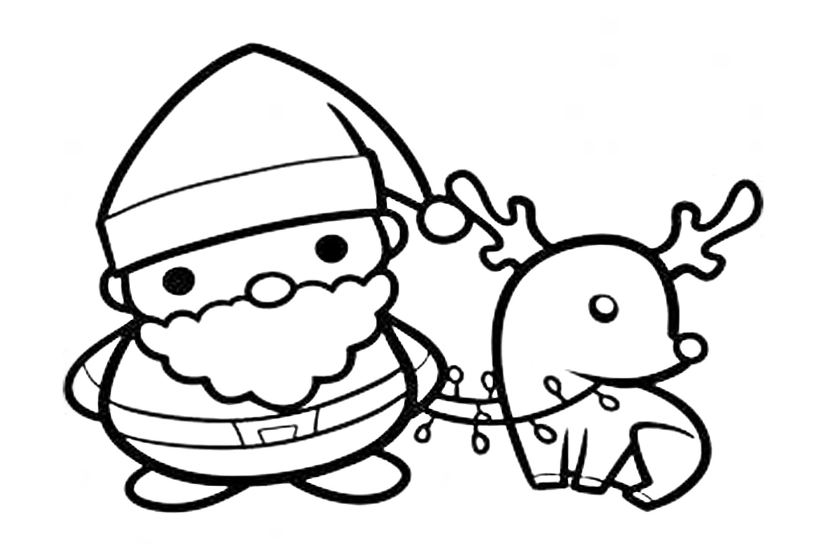 Santa Claus y rodolfo para colorear