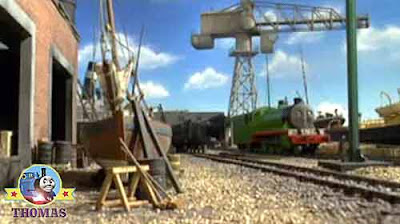 The sea fishing old ships had a tall sailing mast Henry the green engine Thomas and Cranky the crane