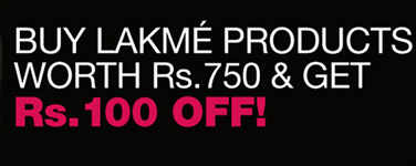 Buy Lakme products worth Rs 750 and get Rs 100 Off.