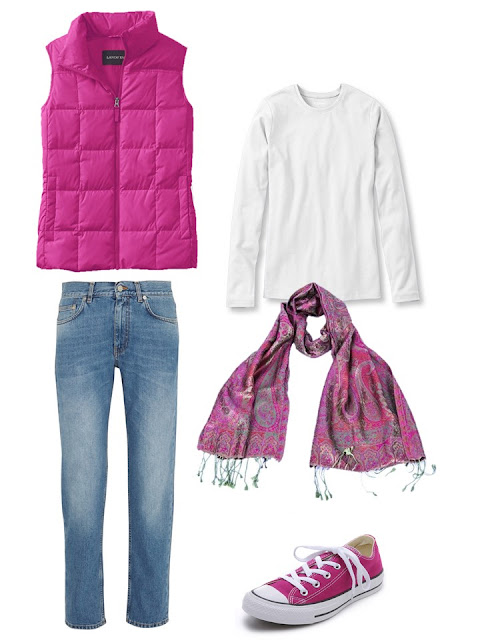 outfit with a hot pink down vest, white tee shirt and blue jeans