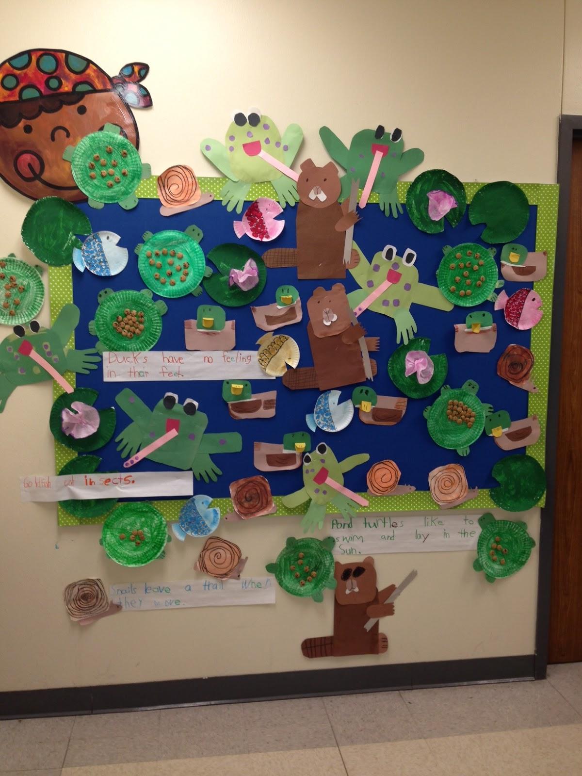 Chalk talk a kindergarten blog our finished pond mural for Duck pond mural