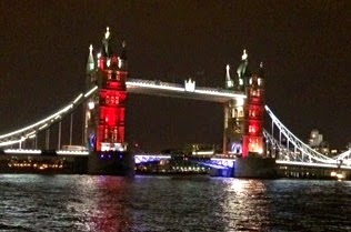 Tower Bridge lit up at night