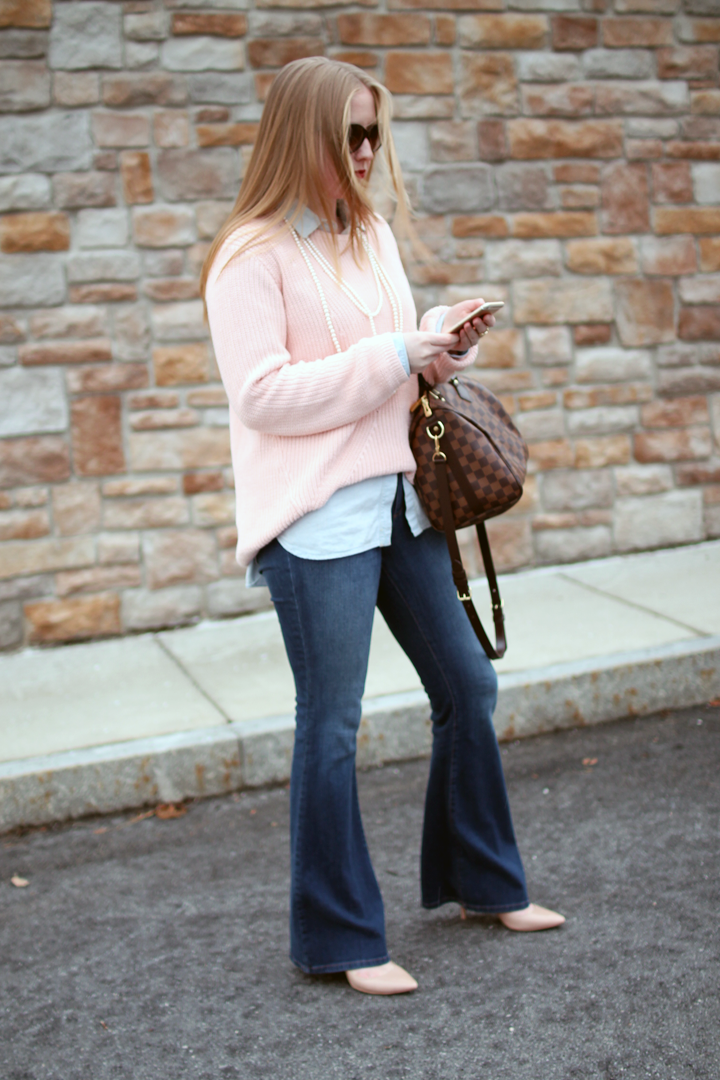 denim on denim, chambray and jeans, madewell chambray and flared jeans, knit sweater layered on chambray, blue and pink layers, boston style blogger, boston style, fashion blogger style