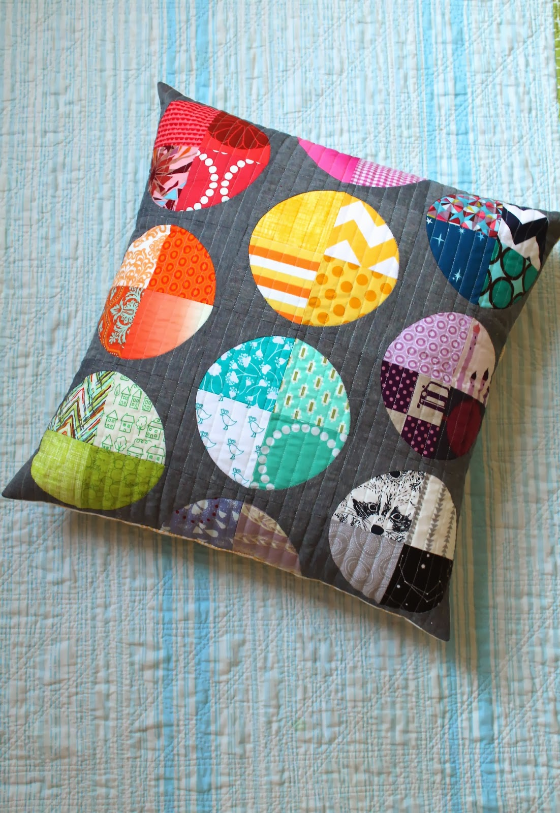 a little gray: Scrappy Circles Pillow