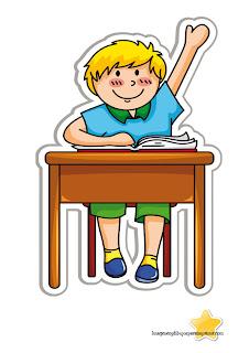 Niño levantando mano en clase Niños en el colegio para imprimir
