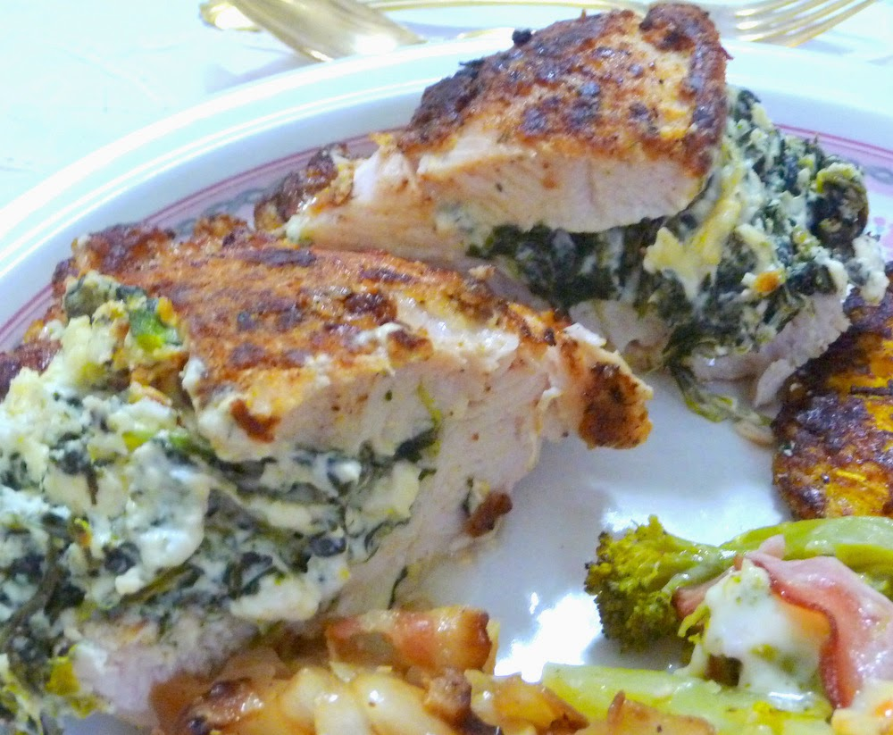 "... ELOFF: ""BREADED"" CHICKEN STUFFED WITH SPINACH, FETA AND CREAM C..."