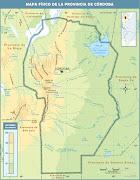 (Mapa físico de la provincia de Córdoba- Argentina. cordoba fisico