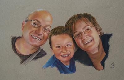 Retrato a pastel de familia de tres