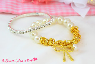 bracelets, pearl bracelet, crystal bracelet, elastic necklace, bow bracelet