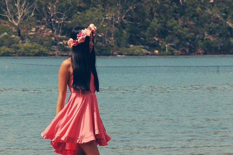 Miss Unkon, Personal style, fashion, Valentines Day, pink dress, floral crown, Etsy, floral garland