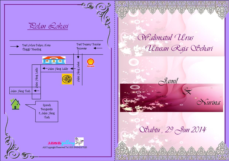 kad undangan perkahwinan bertemakan flora..sekeping hanya RM 0.65 ...