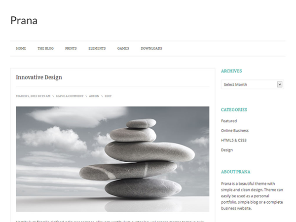 Prana - free clean WordPress theme