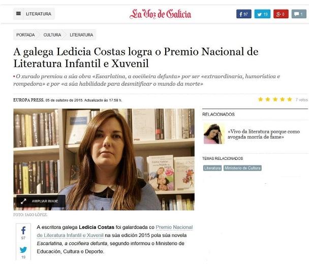 http://galego.lavozdegalicia.es/noticia/literatura/2015/10/05/gallega-ledicia-costas-logra-premio-nacional-literatura-infantil-juvenil/00031444048634029795168.htm