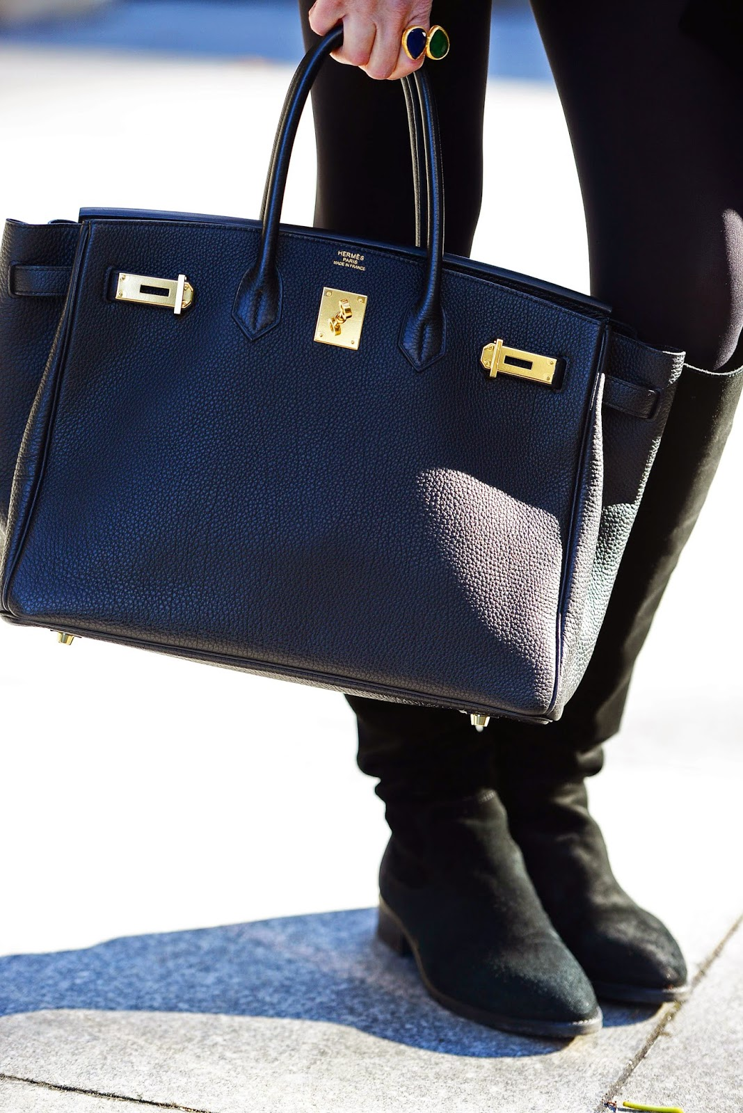 hermes 35cm blue ocean togo birkin bag with gold hardware