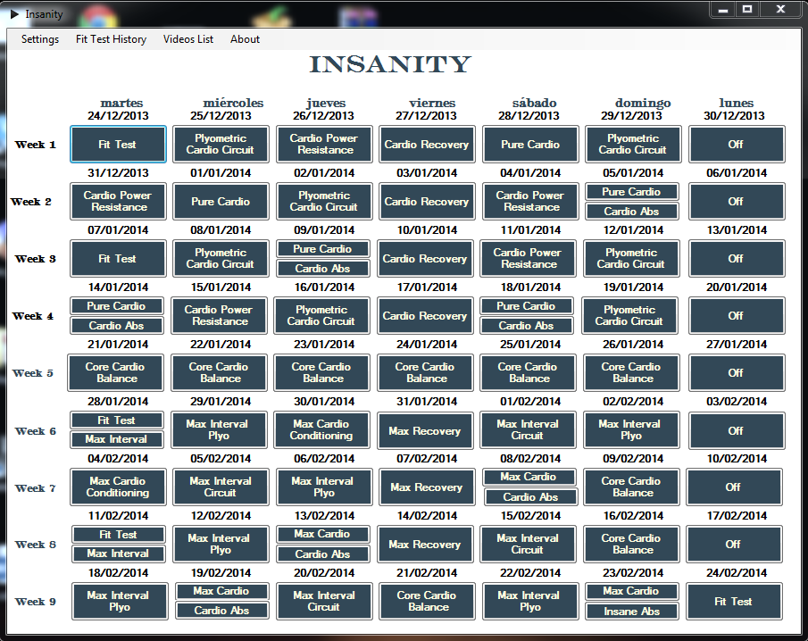 Insanity Workout Schedule Fit Test Insanity Workout Schedule