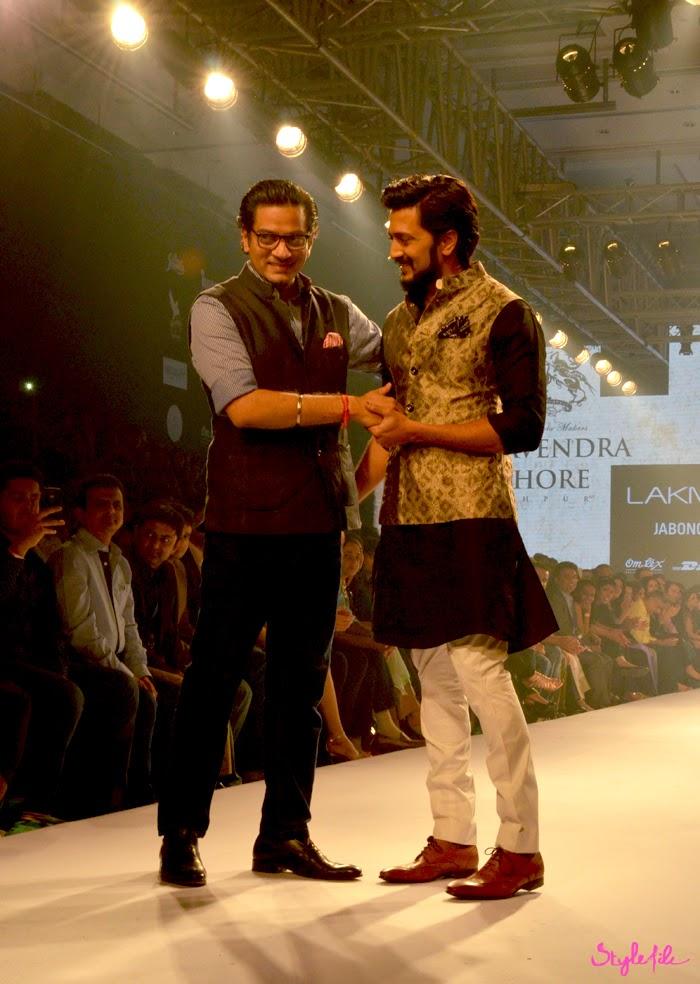 Designer Raghavendra Rathore and Bollywood actor Ritesh Deshmukh in the menswear collection at Lakme Fashion Week Summer Resort 2015 in Mumbai