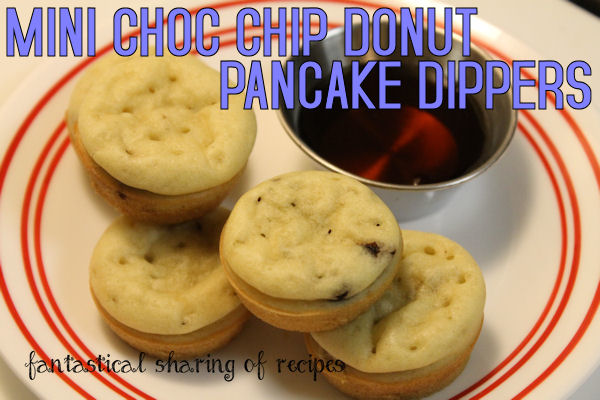 Mini Chocolate Chip Donut Pancake Dippers - cute little pancakes just the right size for dipping! #breakfast
