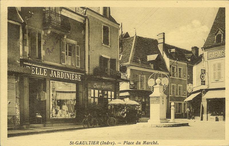 vintage postcard showing village shops and cafe