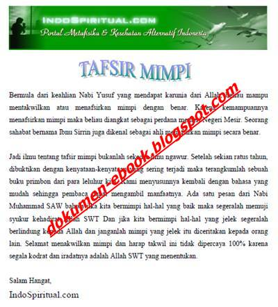 Download Ebook Tafsir Mimpi