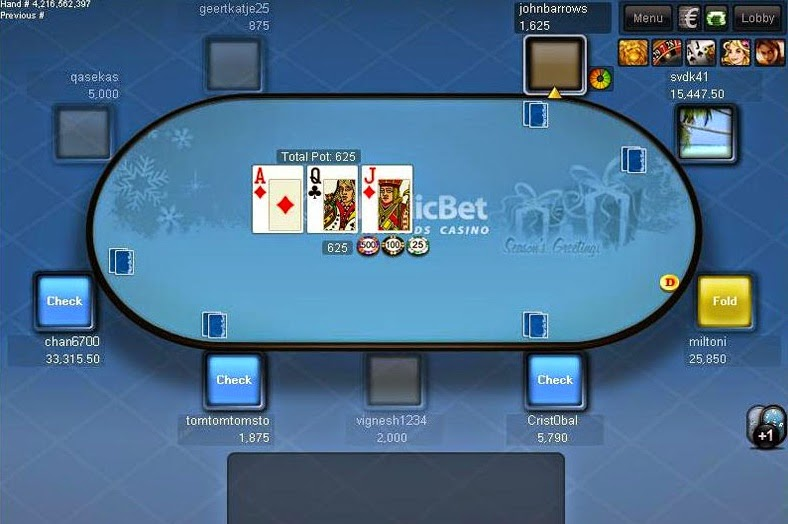 Nordicbet Poker Table Screen
