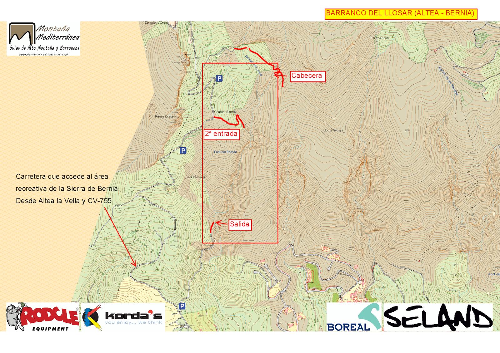 Mapa de acceso al barranco del Llosar (Serra de Bernia)