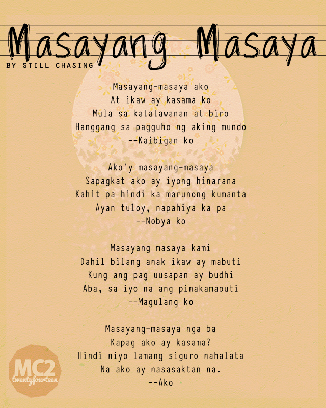 filipino poets and their poems His first book of poems in tagalog, sitsit sa kuliglig (cricket gossip), was  published in 1972  jose f lacaba, born in1945, is the youngest of the three  poets.