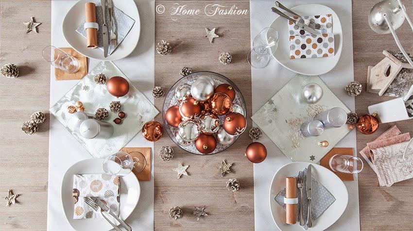 Weihnachtstischdekoration in kupfer home fashion be for Weihnachtstischdekoration 2017