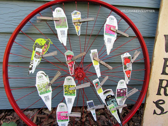 Bicycle Wheel Garden Plant Tag Organizer