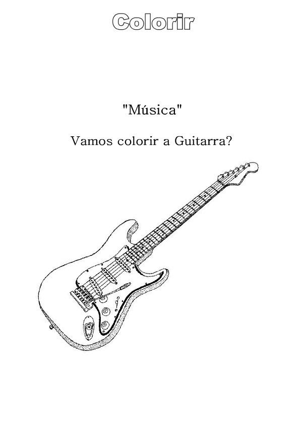 a desenhar Violão Guitarra Piano Saxofone e Clarinetecolorir