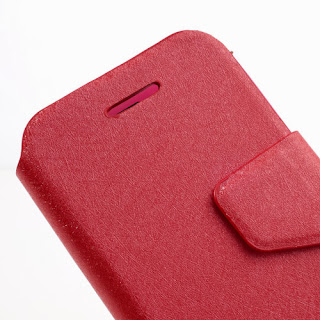Wallston Filament Grain Leather Case Wallet with Card Slot for BlackBerry Q5 - Red