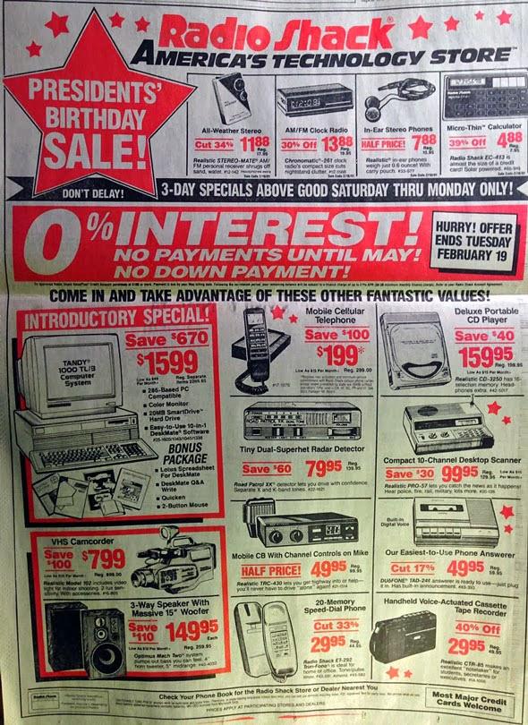 Tabloide do Radio Shack de 1991 com produtos de tecnologia que hoje, cabem todos em um iPhone