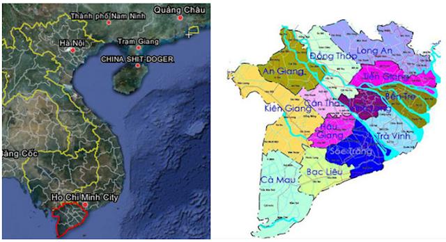 Bản đồ các tỉnh Đồng Bằng Sông Cửu Long