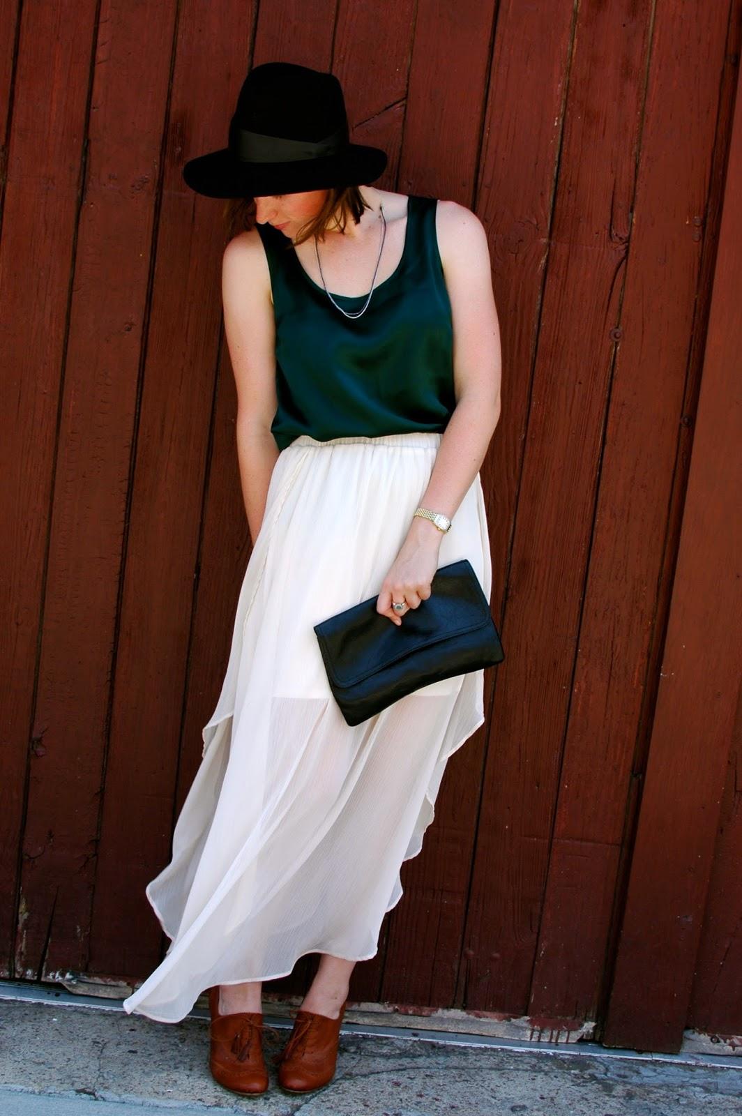 Janessa Leone Hat, Flowing Skirts, Silk Emerald top, Menswear Accessories