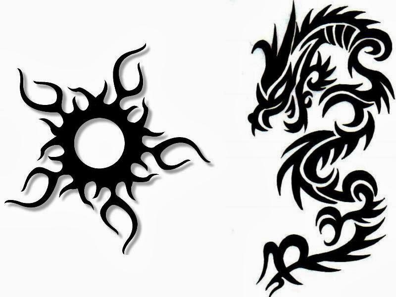 Dragon with sun tribal tattoo stencil