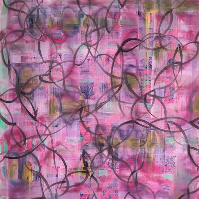 Ali Amaro. Pink plaid floral pattern in gouache.