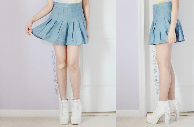 A cute spring/summer OOTD with the SheIn denim pleated American Apparel tennis skirt dupe and white Jeffrey Campbell Lita Spike platform booties dupes.