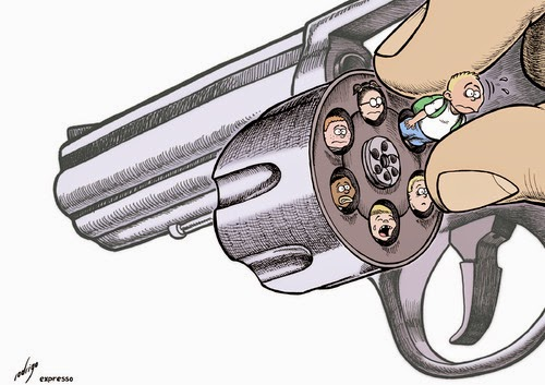Anti-Gun Nut Image:  Person loading cylinder of revolver with children.