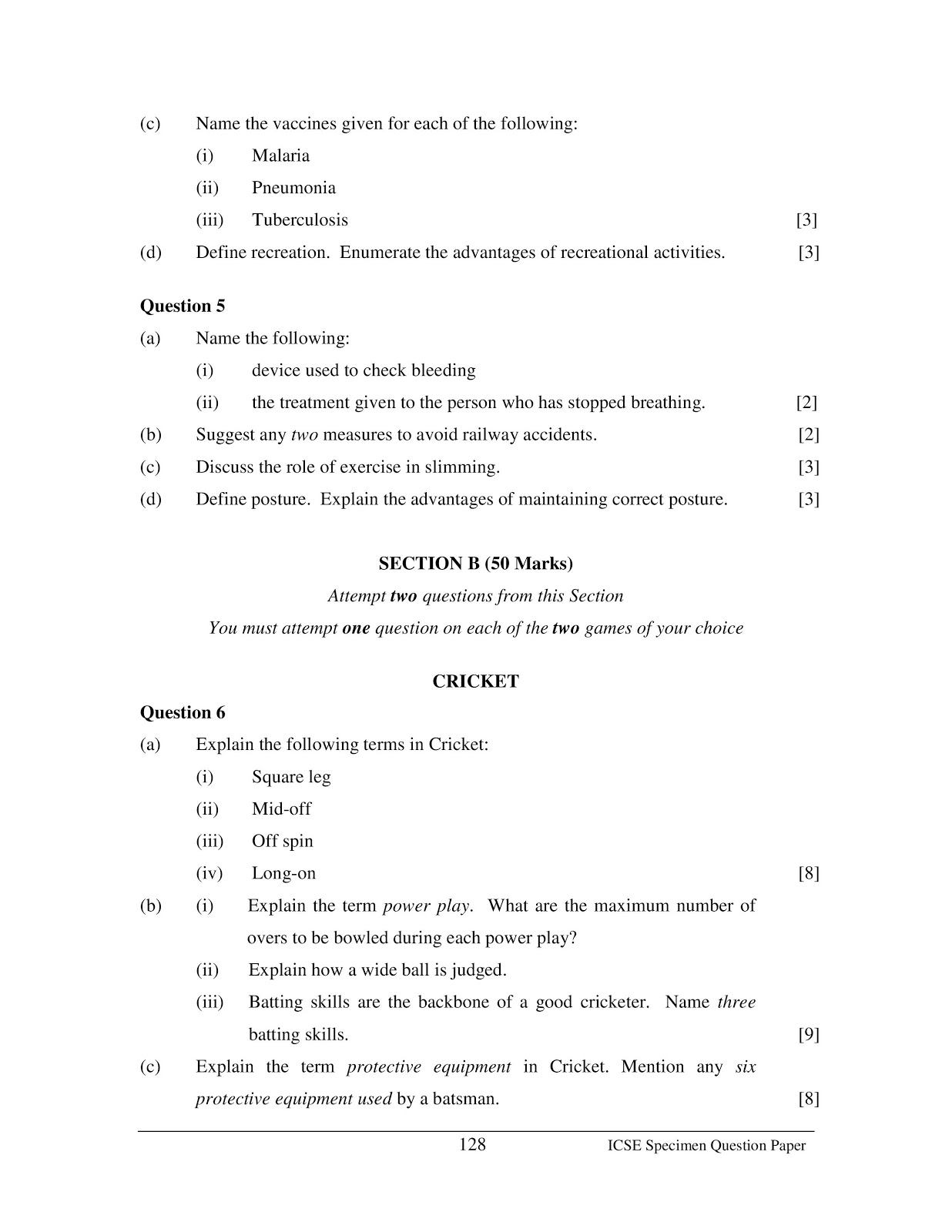 icse 2015 class 10th Physical Education Specimen Board question paper