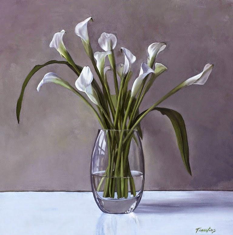 bodegones con floreros de cristal y flores pintados con oleo sobre lienzo