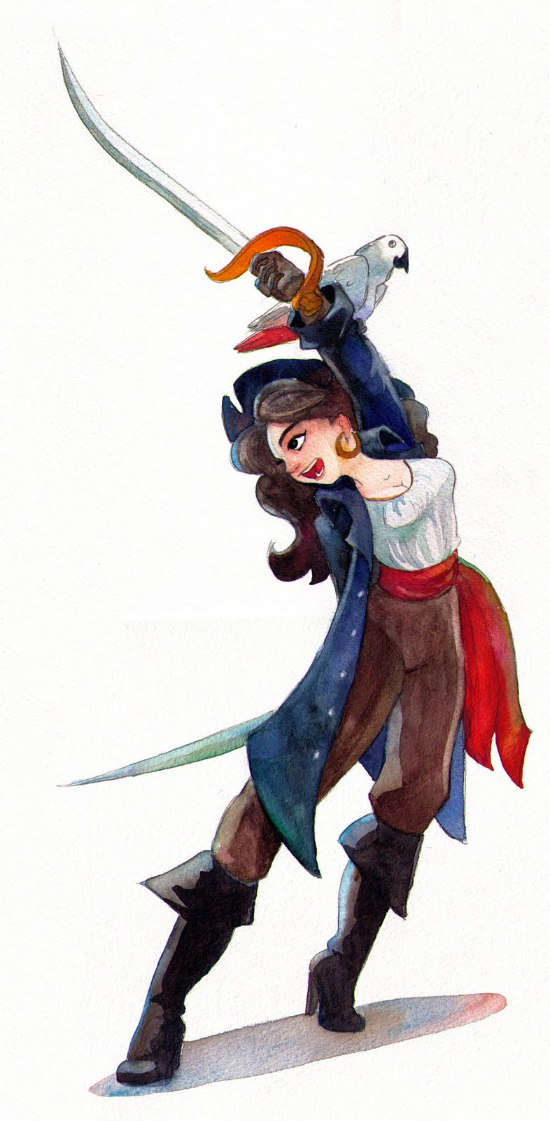 tiffanny u0027s sketchbook watercolor pirate lady with parrot