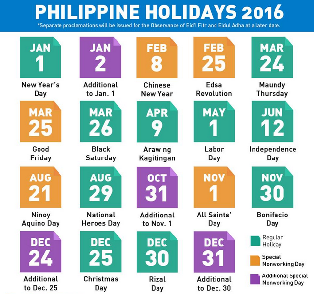List of nationwide holidays for 2016 released | DEPED